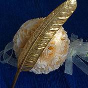 """Винтажная брошь """"Золотое перо"""" от Miriam Haskell, 1960гг"""