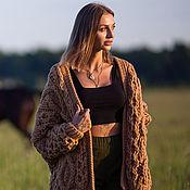 handmade. Livemaster - original item Women`s knitted cardigan made of camel wool. Handmade.