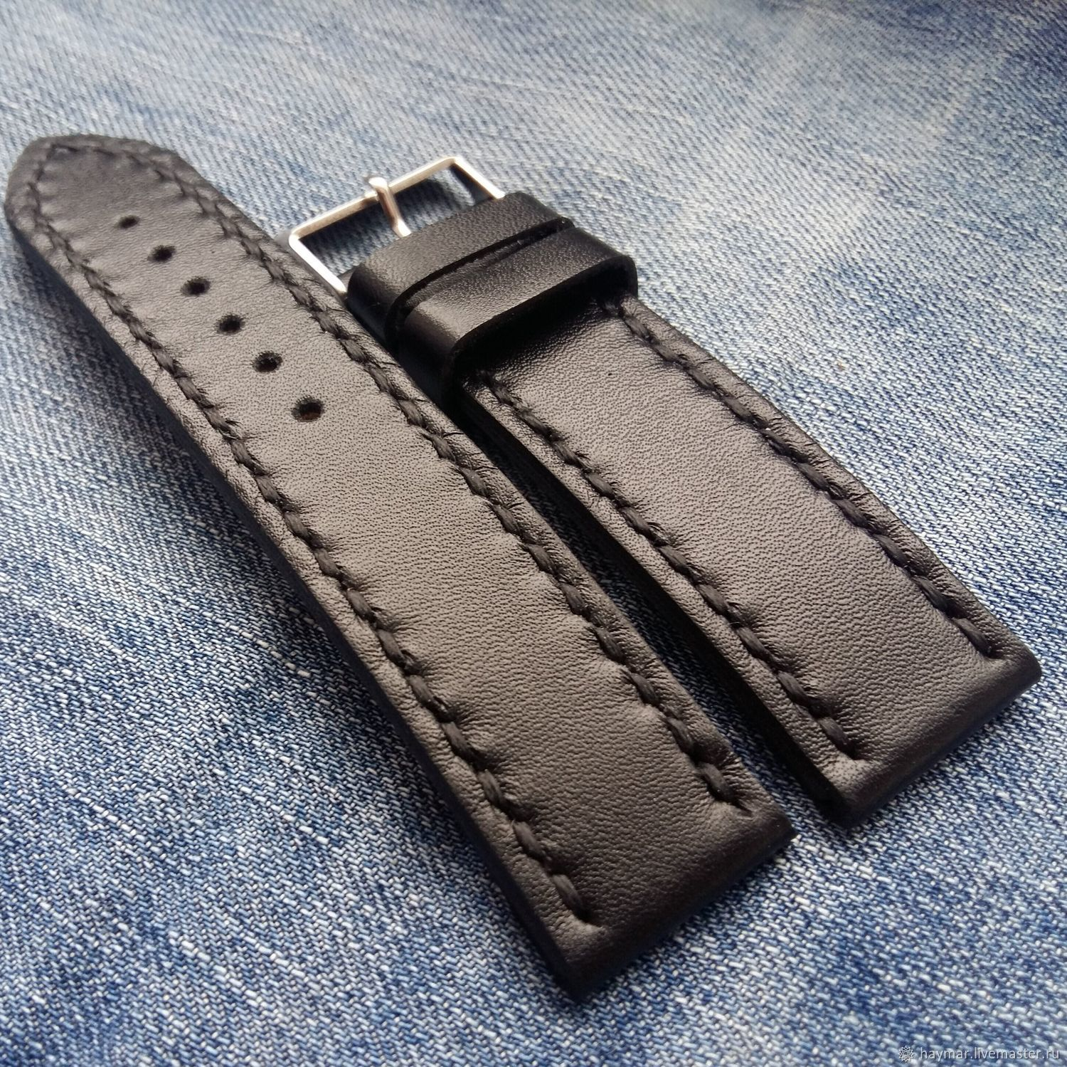Black leather strap 20mm 22mm 24mm, Straps, Moscow,  Фото №1