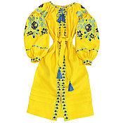 "Одежда handmade. Livemaster - original item Long embroidered Boho style dress ""Solar Roosers"". Handmade."