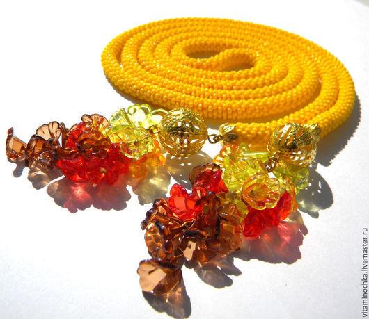 желтый лариат из бисера, осеннее украшение, лариат, лариат купить, желтый, яркий, лариат желтый