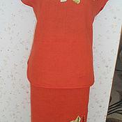 Одежда ручной работы. Ярмарка Мастеров - ручная работа вышитый шелком костюм (лен). Handmade.