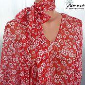 Одежда ручной работы. Ярмарка Мастеров - ручная работа Туника платье натуральный шелк Красная поляна. Handmade.