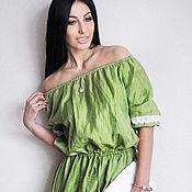 """Льняное длинное платье """"Лайм"""", платье из натурального льна"""