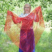Аксессуары handmade. Livemaster - original item Shawls: Openwork handkerchief-gossamer downy in a red shade. Handmade.