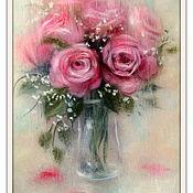 Картины и панно ручной работы. Ярмарка Мастеров - ручная работа Розы за стеклом Картина из шерсти. Handmade.