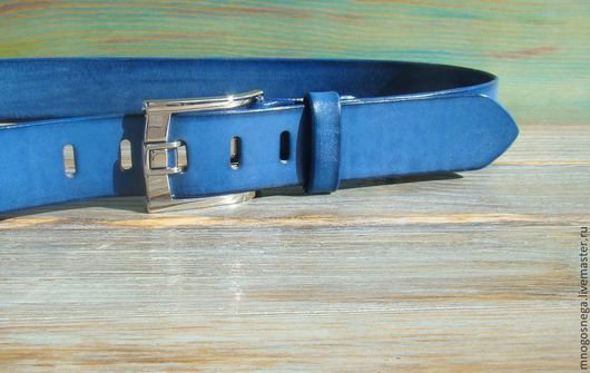 Пояса, ремни ручной работы. Ярмарка Мастеров - ручная работа. Купить Ремень кожаный мужской Синий Trend. Handmade. Синий