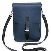 Мужская сумка ручной работы. Ярмарка Мастеров - ручная работа Мужская синяя кожаная сумка планшет. Handmade.