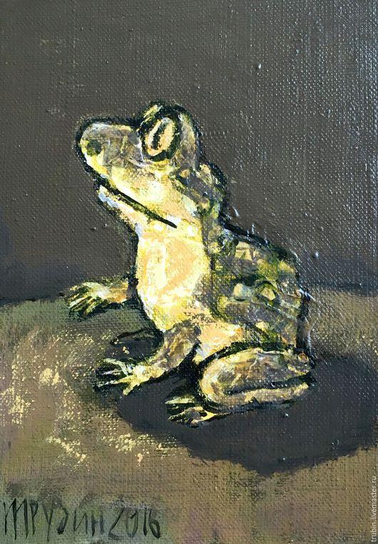 Животные ручной работы. Ярмарка Мастеров - ручная работа. Купить Маленькие жабки. Handmade. Тёмно-зелёный, лягушонок, картина в подарок