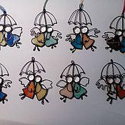 """Для дома и интерьера ручной работы. Ярмарка Мастеров - ручная работа Витражные Ангелы """"Мы вместе""""! Рождественские обереги.. Handmade."""