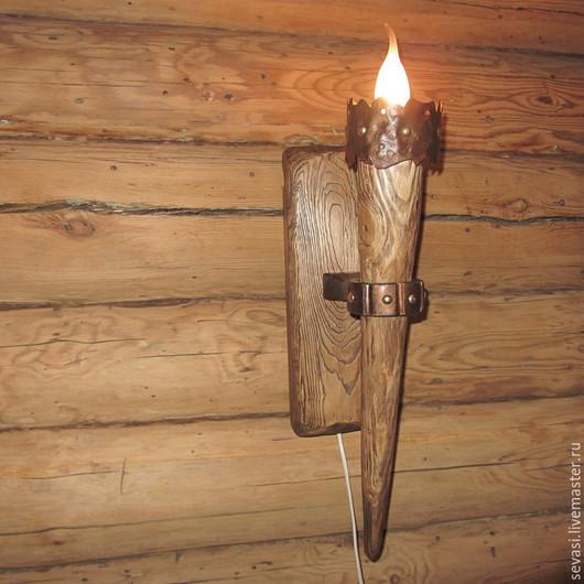 """Освещение ручной работы. Ярмарка Мастеров - ручная работа. Купить БРА """"Факел замковый"""" № 1. Handmade. Коричневый"""