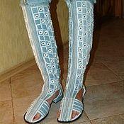 Обувь ручной работы. Ярмарка Мастеров - ручная работа Сапог-Сандаль джинсовый, летний «Шахматы», каблук 2см.. Handmade.