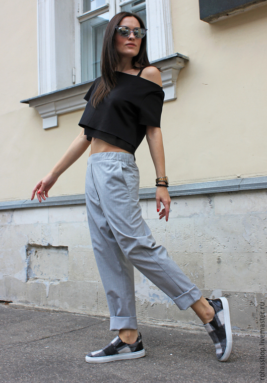 R00027 Брюки серые брюки модные брюки дизайнерские брюки женская одежда свободные брюки стильные брюки шерстяные брюки свободные брюки брюки на запах элегантные брюки штаны с мотней