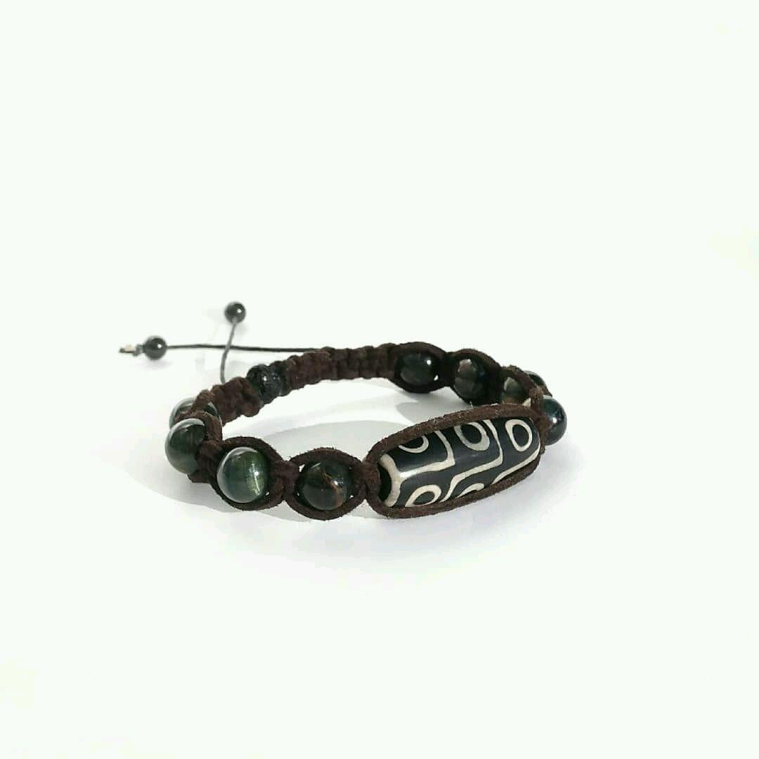 Shamballa bracelet with Dzi 9 eyes Hawkeye in the skin, Chain bracelet, Moscow,  Фото №1
