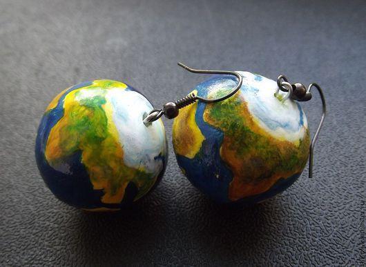 """Серьги ручной работы. Ярмарка Мастеров - ручная работа. Купить серьги """"планета Земля"""". Handmade. Планета, необычные серьги"""