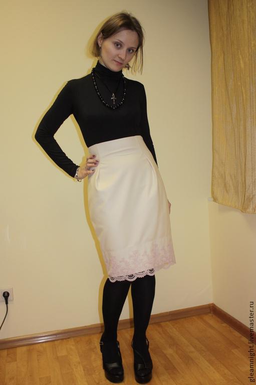 Юбки ручной работы. Ярмарка Мастеров - ручная работа. Купить Молочная юбка-карандаш с завышенной талией. Handmade. Бежевый, юбка