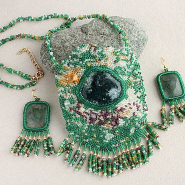 Decorations handmade. Livemaster - original item Pendant and earrings with agate