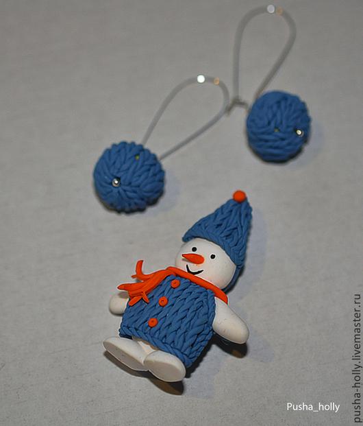 Броши ручной работы. Ярмарка Мастеров - ручная работа. Купить Снеговик. Handmade. Белый, брошь на шапку, брошь на свитер, снеговик