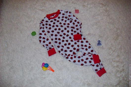 Одежда ручной работы. Ярмарка Мастеров - ручная работа. Купить Трикотажный комбинезончик на малыша с отстёгивающимся клапаном. Handmade. Комбинированный, для малышей