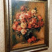 Картины ручной работы. Ярмарка Мастеров - ручная работа Картины: Изделия: Розы в вазе по мотивам Ренуара. Handmade.