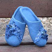 """Обувь ручной работы. Ярмарка Мастеров - ручная работа Тапочки валяные """"Голубые дали"""". Handmade."""