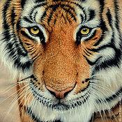Картины и панно ручной работы. Ярмарка Мастеров - ручная работа картина пастелью Взгляд тигра. Handmade.