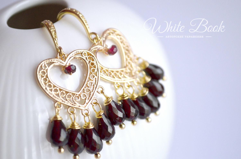 Garnet earrings, hearts, gold, Earrings, Moscow,  Фото №1