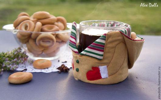 Кухня ручной работы. Ярмарка Мастеров - ручная работа. Купить Грелка для кружки с капюшоном. Handmade. Бежевый, грелка для чашки, кружка