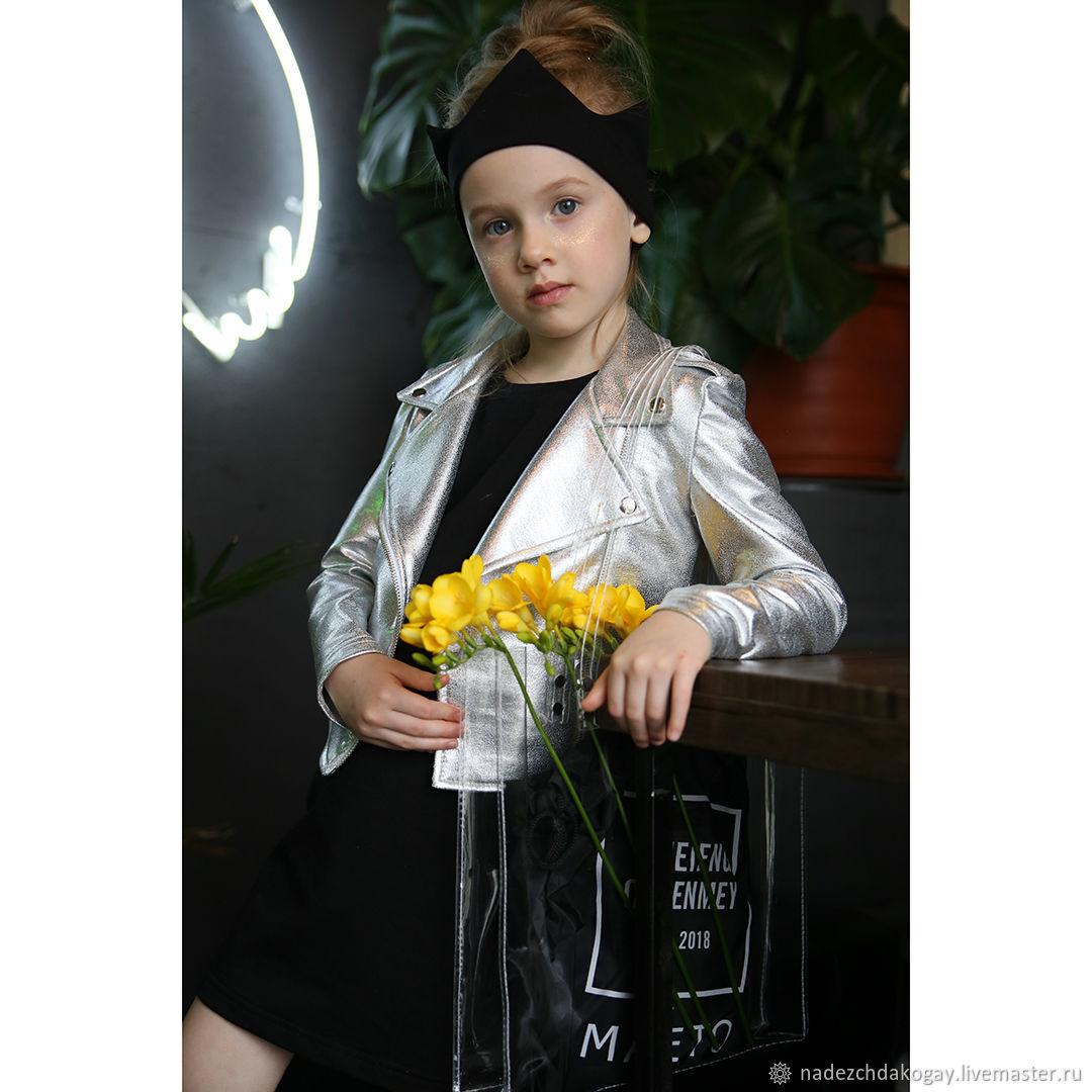 Одежда для девочек, ручной работы. Ярмарка Мастеров - ручная работа. Купить Серебристая косуха из футера. Handmade. Для девочки