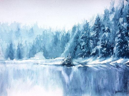 """Пейзаж ручной работы. Ярмарка Мастеров - ручная работа. Купить """"Зимний пейзаж"""" акварель. Handmade. Голубой, озеро, ели, туман"""