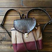 handmade. Livemaster - original item Backpack leather and canvas style boho