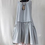 Одежда handmade. Livemaster - original item dress set linen gray-olive with podobnikar.. Handmade.