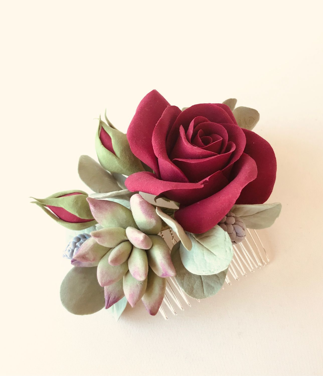Hair comb with big dark red rose, Hair Decoration, Voskresensk,  Фото №1