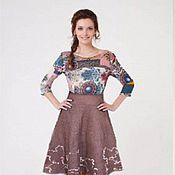 Одежда handmade. Livemaster - original item Felted skirt chocolate. Handmade.