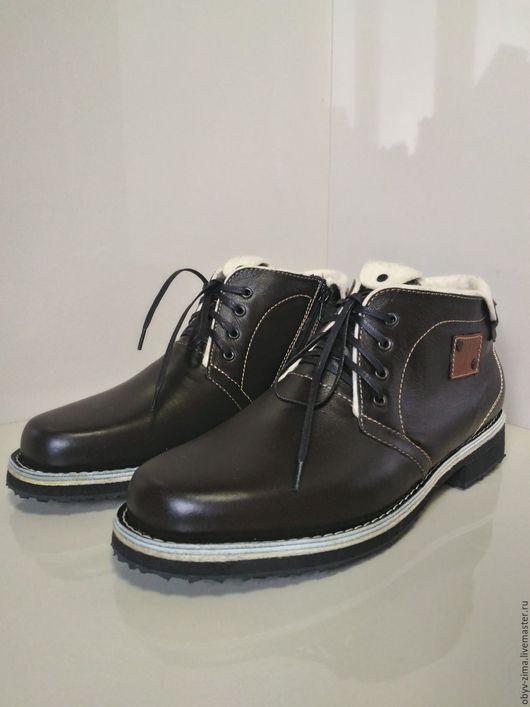 Обувь ручной работы. Ярмарка Мастеров - ручная работа. Купить Ботинки мужские демисезонные.. Handmade. Кожа натуральная, тепло