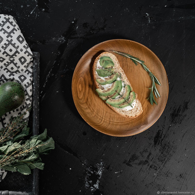 Деревянная тарелка из натурального дерева сибирский кедр 250 мм. T129, Тарелки, Новокузнецк,  Фото №1