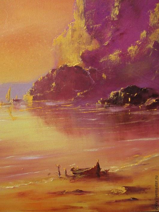 Пейзаж ручной работы. Ярмарка Мастеров - ручная работа. Купить Лодка на Закате. Handmade. Закат, пляж, теплый, желтый, крупная