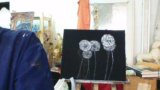 Картины цветов ручной работы. Ярмарка Мастеров - ручная работа. Купить Одуванчики. Handmade. Чёрно-белый, минимализм, черное и белое
