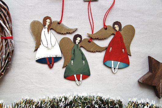 Новый год 2017 ручной работы. Ярмарка Мастеров - ручная работа. Купить Ангелы в новогодних тонах. Handmade. Ангел, ангелочки, рождество