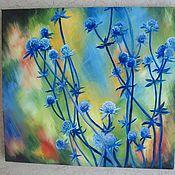 Картины и панно ручной работы. Ярмарка Мастеров - ручная работа Картина маслом Синие колючки. Handmade.
