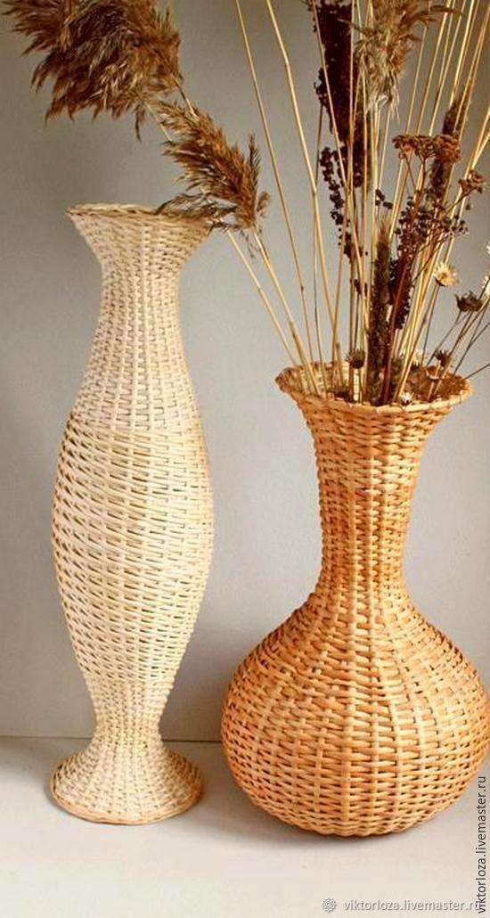 Ваза, плетеная из ивовой ленты (1)
