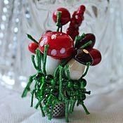 Украшения handmade. Livemaster - original item Brooch pin lampwork Mushroom season. Handmade.