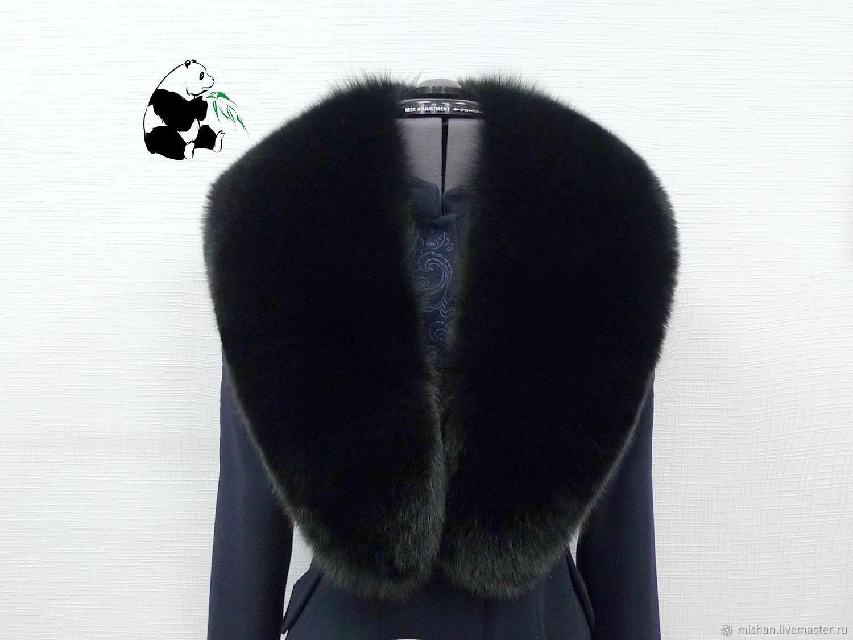 Big fur detachable collar boa Fox fur. Black, Collars, Ekaterinburg,  Фото №1