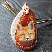 Украшения handmade. Livemaster - original item Pendant Fox. Gift girl daughter Painted on stone lacquered miniature. Handmade.
