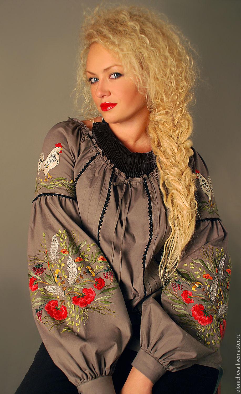 """Вышитая блуза """"Птичий дворик"""" эксклюзив, ручная вышивка, Блузки, Винница,  Фото №1"""