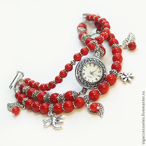 """Часы ручной работы. Ярмарка Мастеров - ручная работа. Купить """"Лето в лесу"""" - часы-браслет. Handmade. Ярко-красный"""
