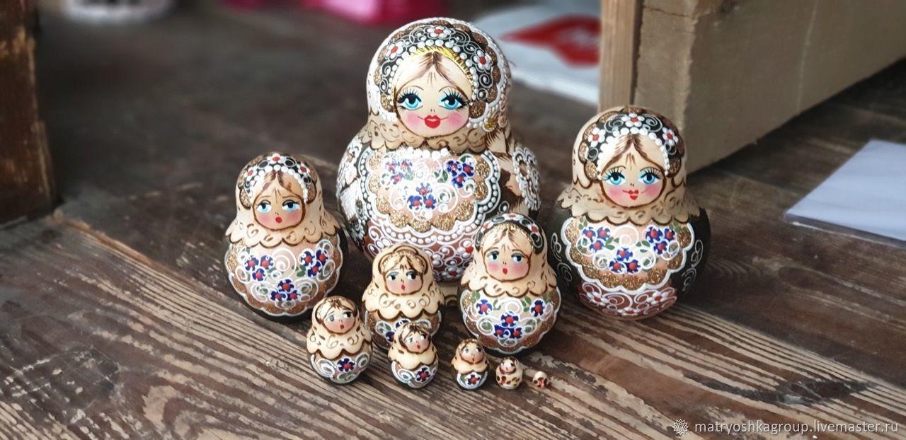 Матрешка 10мест 10см Танюша жженка золотая, Матрешки, Москва, Фото №1