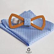 Аксессуары handmade. Livemaster - original item Wooden butterfly cravat Gentleman air beech shawl Pasha blue. Handmade.