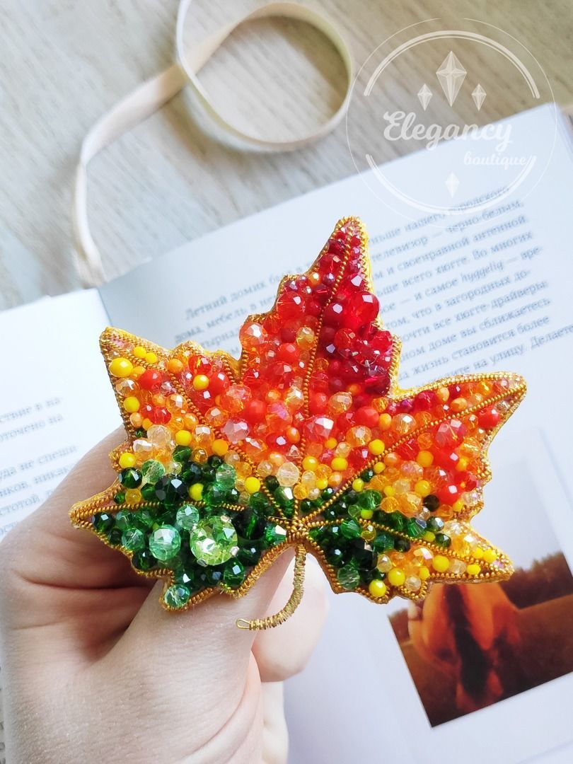 Brooch maple leaf ' Colors of autumn', Brooches, St. Petersburg,  Фото №1