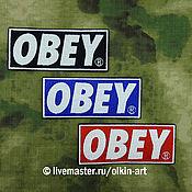 Сувениры и подарки ручной работы. Ярмарка Мастеров - ручная работа нашивка OBEY (чёрная / синяя / красная). Handmade.